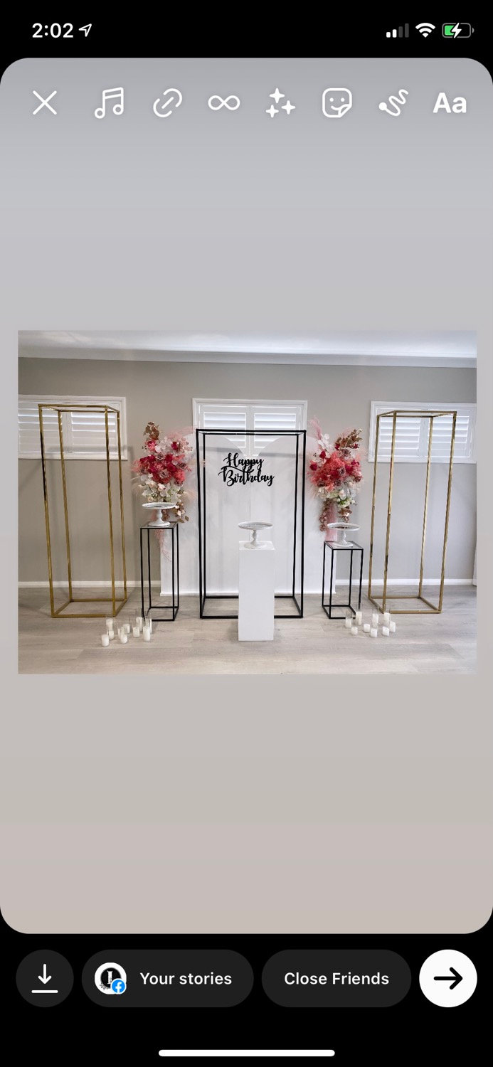 White, Black and Gold Metal Backdrops
