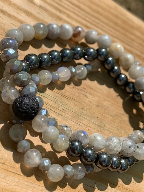 Labradorite & Hematite stack bracelets