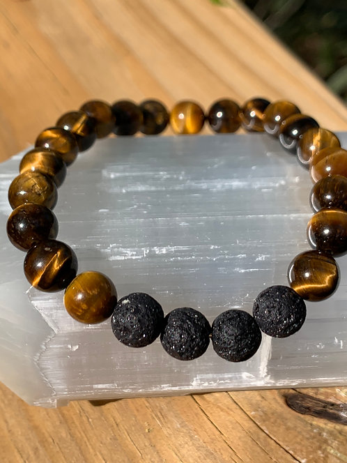 Tigers Eye with Lava Rock bracelet
