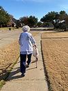 senior walking outside