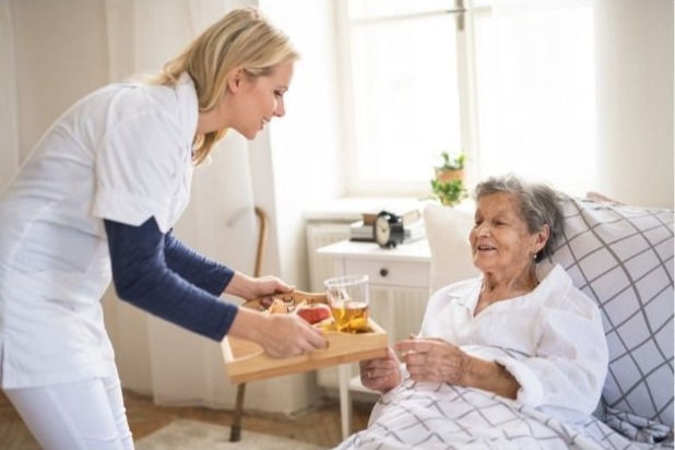 caretaker handing meal on a tray to female senior sitting in bed