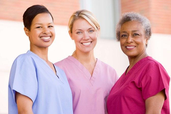 diverse female in home caregivers