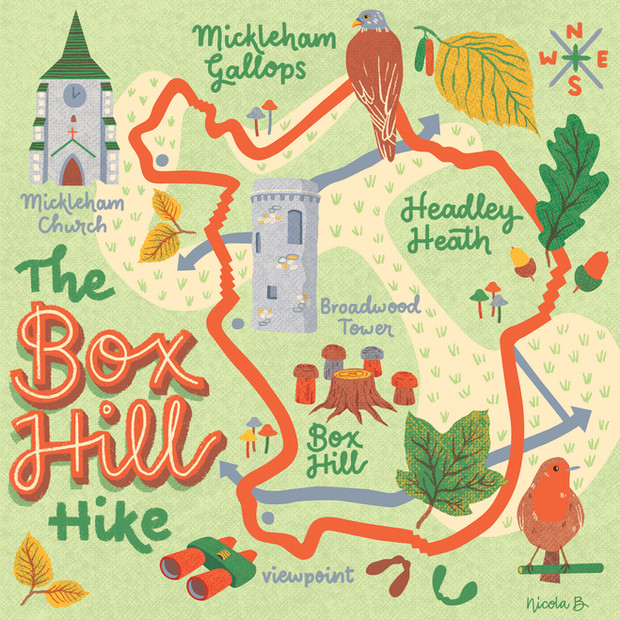 Box Hill Hike Map