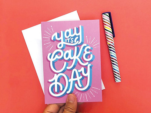 Yay It's Cake Day Hand Drawn Greetings Card