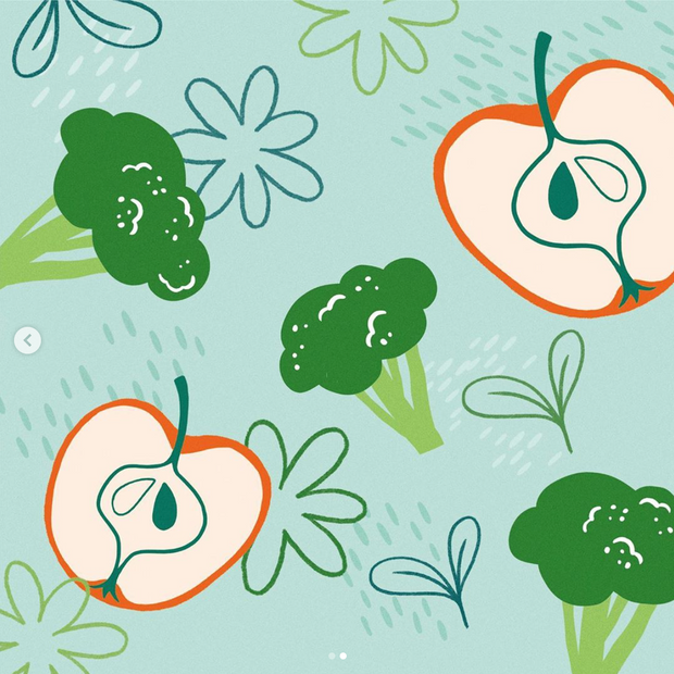 Apple and Broccoli illustration for packaging