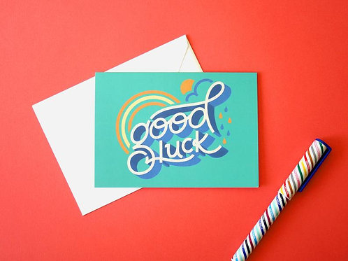 Good Luck Hand Drawn Greetings Card