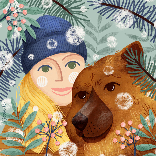Portrait of woman and her dog in winter scene