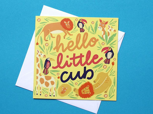 Hello Little Cub Hand Drawn Charity Greetings Card