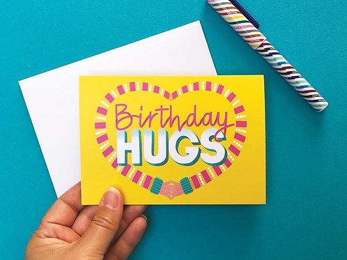 Birthday Hugs Hand Drawn Greetings Card