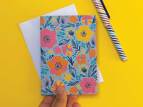 Blossom in Blue Hand Drawn Greetings Card