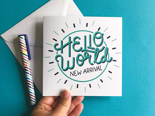 Hello World Hand Drawn New Baby Greetings Card