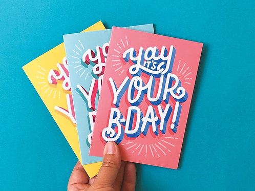 3-Pack Yay It's Your B-day Hand Drawn Greetings Cards