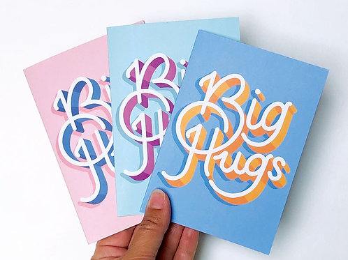 3-Pack Big Hugs Hand Drawn Greetings Cards