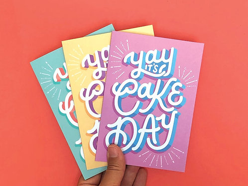 3-Pack Yay It's Cake Day Hand Drawn Greetings Cards