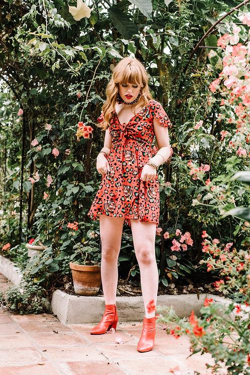 Sophia Wrap Dress in Bubastis Ruby-Red