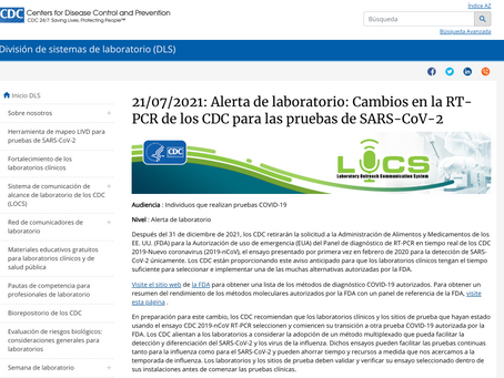 CDC quita la autorizacion de uso de Emergencia para el Sistema de Diagnostico - PCR