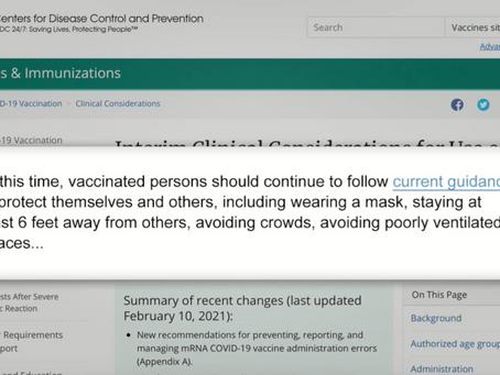 CDC confirma que personas vacunadas seguiran con mismas restricciones : Mascarillas y Aislamiento