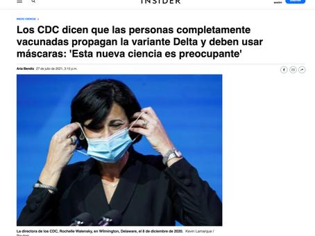 """La CDC dice : """"Personas completamente vacunadas propagan la variante Delta y deben usar máscara"""""""