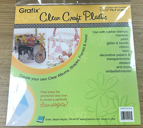 "12"" x 12"" Clear craft plastic .020  4 sheets"