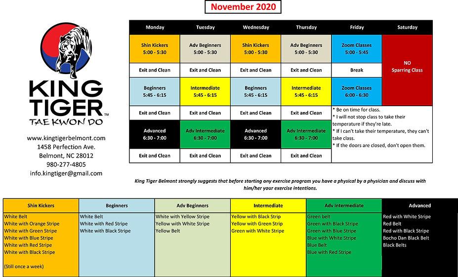 King Tiger Belmont Schedule 2020 - Novem