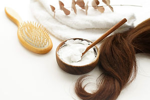 female hair, hair mask and bamboo comb o