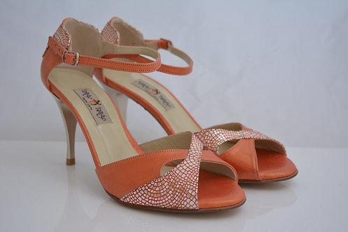 Size 40 Orange & Peach Metallic Leather Butterfly Peep 8cm heel