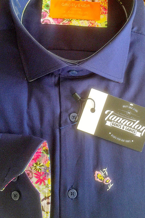Navy Shirt floral highlights