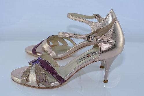 Size 38 Rose Gold & Plum Leafy Peep 7cm Heel (S-W)