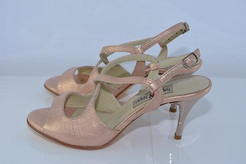 Size 38 Rose Gold Cross Arch Sling 7cm Heel (W)