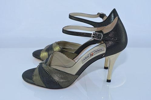 Size 36 Pewter & Gold Vortex Peep 8cm Heel (S)