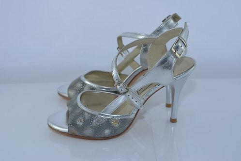 Size 35 Pewter & Silver Diagonal Sling 8cm Heel (S-W)