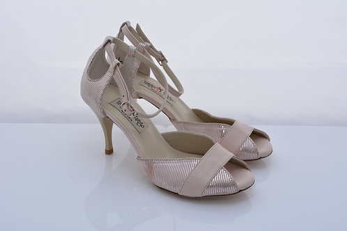 Size 37 Nude with silver stripe Ornate Peep 7cm heel