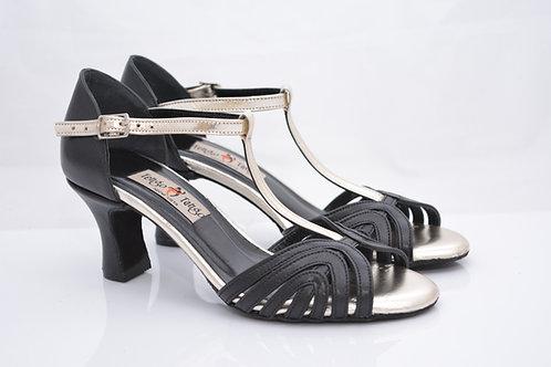 Size 35 Black and Platinum Maze T Strap 6cm heel (N)