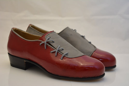 Size 40 Grey Kid leather and Red Patent leather Spats with Leather sole