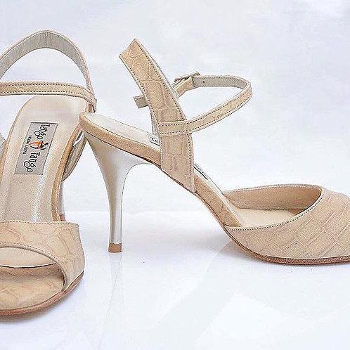 Size 37 Beige Textured Sling 8cm heel