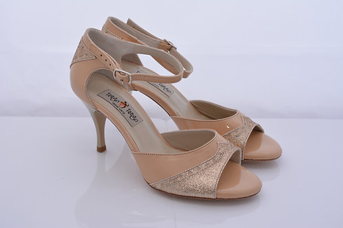Size 37 Nude patent and Gold Lame Peep 7cm heel (N-S)