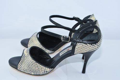 Size 38 Neutral Python & Black Cut Out 7cm Heel (S)