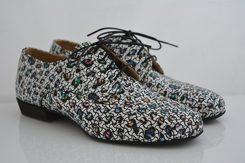 Funky Flats Patent Printed Leather with full suede sole