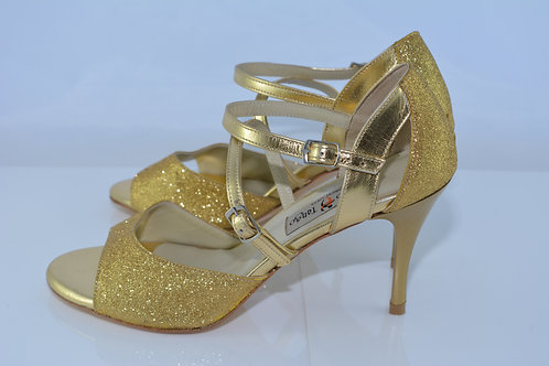 Size 38 Gold Lame Arch Strap Band Sandal 8cm Heel (S)