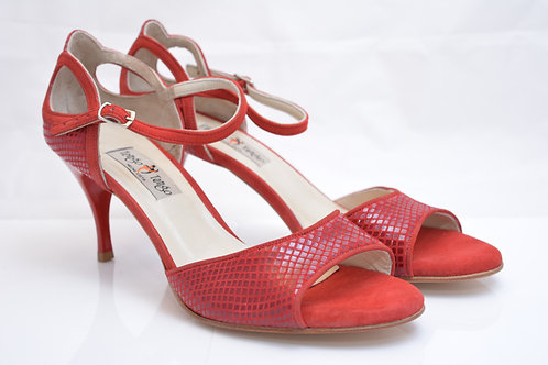 Size 41 Red Python Suede Band Sandal 7cm heel