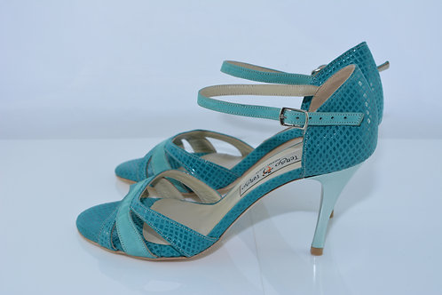Size 37 Turquoise Suede Neo Band Sandal 8cm Heel (N)