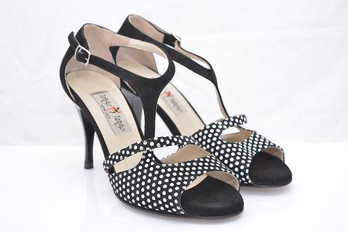 Size 38 Polka dot Suede Asymm 7cm Heel (N)