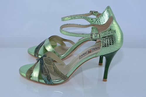 Size 38 Green Metallic Python Leafy Peep 8cm Heel (S-W)