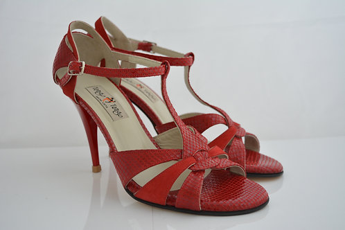 Size 40 Red python & suede strappy Peep T strap 9cm heel
