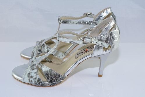 Size 36 Silver Stencil Leather T Strap 7cm Heel (N)