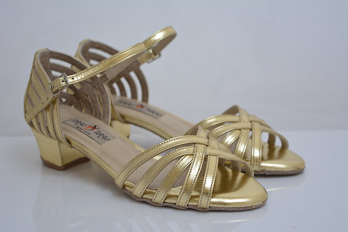 Size 37 LATIN Gold Leather strappy front 3.5cm heel