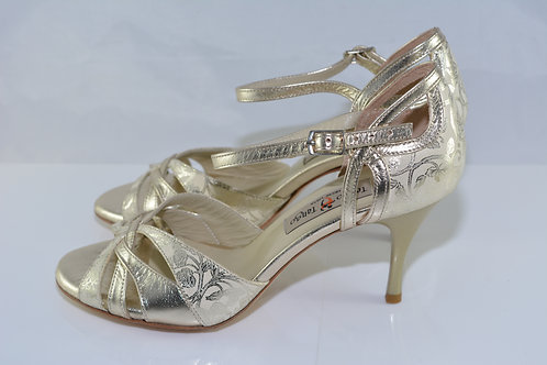 Size 38 Gold floral print leather Strappy front 7cm heel (N)