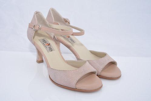 Size 36 Blush Suede Band Sandal 6cm Heel (S)