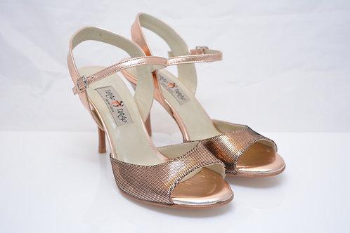 Size 38 Bronze Metallic print suede Sling 8cm heel