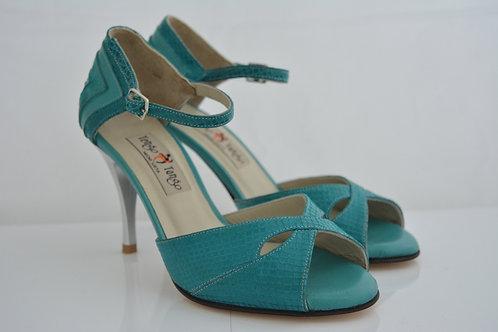 Size 35 Jade Python suede Butterfly Peep 8cm heel
